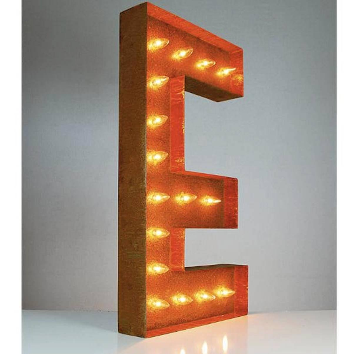 "Tin Letters With Lights Gorgeous 36"" Letter E Lighted Vintage Marquee Letters Rustic  Buy Inspiration Design"