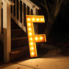 "36"" Marquee Letter Lights - 36"" Letter F Lighted Vintage Marquee Letters (Rustic)"