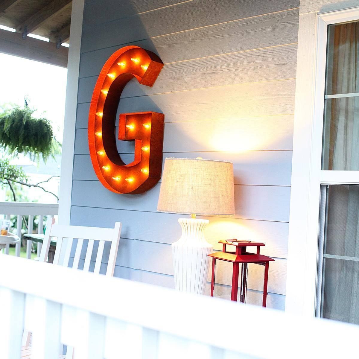 """36"""" Letter G Lighted Vintage Marquee Letters (Rustic"""