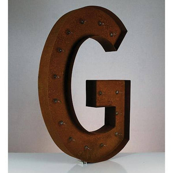 "36"" Marquee Letter Lights - 36"" Letter G Lighted Vintage Marquee Letters (Rustic)"