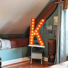 "36"" Marquee Letter Lights - 36"" Letter K Lighted Vintage Marquee Letters (Rustic)"