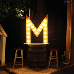 "36"" Marquee Letter Lights - 36"" Letter M Lighted Vintage Marquee Letters (Rustic)"