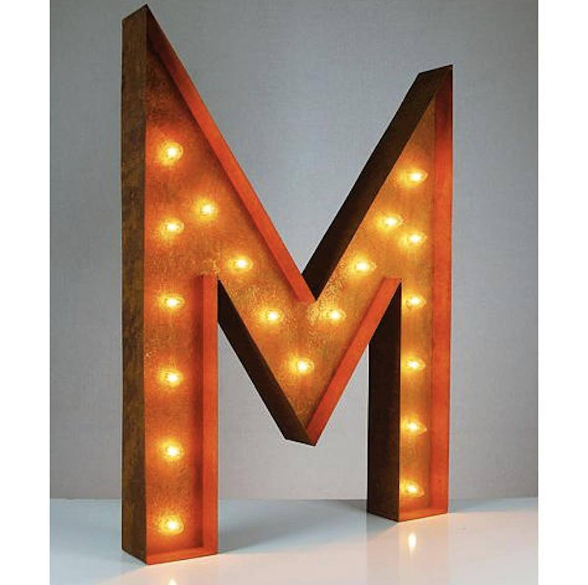 "Tin Letters With Lights Cool 36"" Letter M Lighted Vintage Marquee Letters Rustic  Buy Decorating Design"