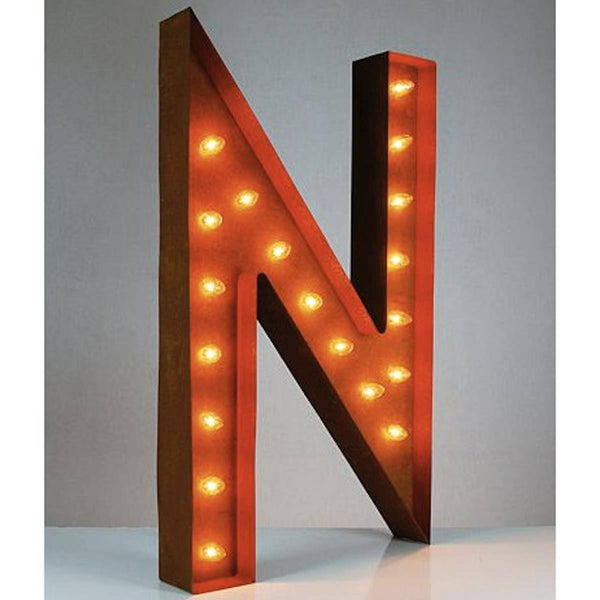 "36"" Marquee Letter Lights - 36"" Letter N Lighted Vintage Marquee Letters (Rustic)"