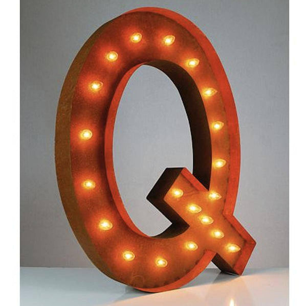 "36"" Marquee Letter Lights - 36"" Letter Q Lighted Vintage Marquee Letters (Rustic)"