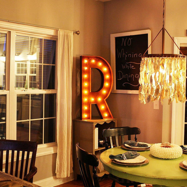 "36"" Marquee Letter Lights - 36"" Letter R Lighted Vintage Marquee Letters (Rustic)"