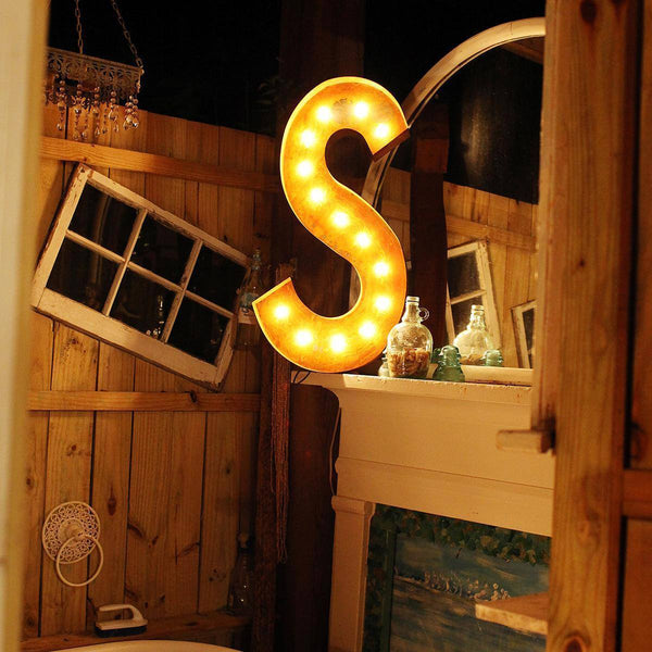 "36"" Marquee Letter Lights - 36"" Letter S Lighted Vintage Marquee Letters (Rustic)"