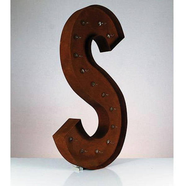 Lighted Rustic Letter S
