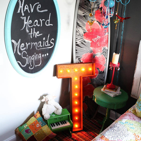 "36"" Marquee Letter Lights - 36"" Letter T Lighted Vintage Marquee Letters (Rustic)"