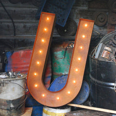 "36"" Marquee Letter Lights - 36"" Letter U Lighted Vintage Marquee Letters (Rustic)"