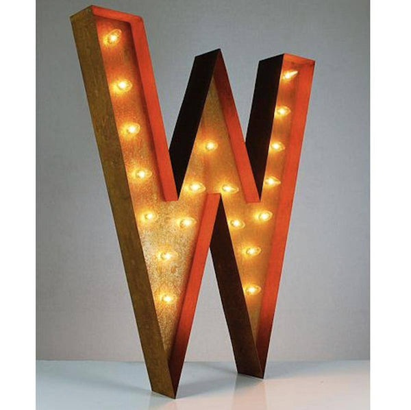 "36"" Marquee Letter Lights - 36"" Letter W Lighted Vintage Marquee Letters (Rustic)"