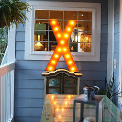 "36"" Marquee Letter Lights - 36"" Letter X Lighted Vintage Marquee Letters (Rustic)"