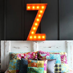 "36"" Marquee Letter Lights - 36"" Letter Z Lighted Vintage Marquee Letters (Rustic)"