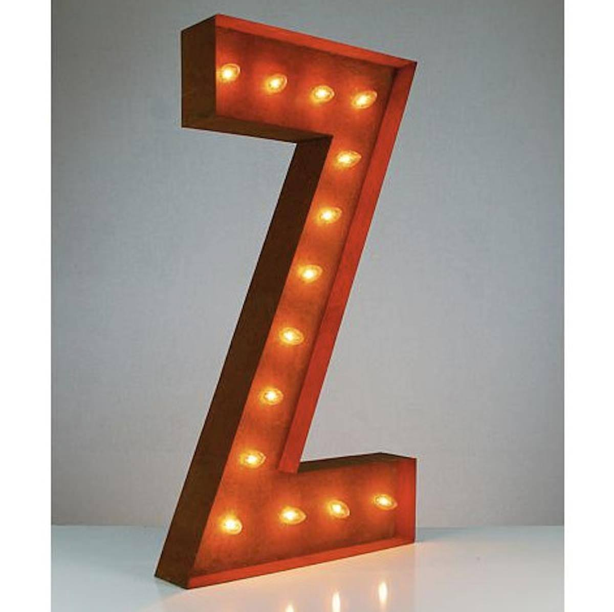 """Lighted Wall Letters 36"""" Letter Z Lighted Vintage Marquee Letters Rustic  Buy"""