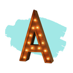 "Marquee Letter Lights - 12"" Letter A Lighted Vintage Marquee Letters (Modern Font/Rustic)"