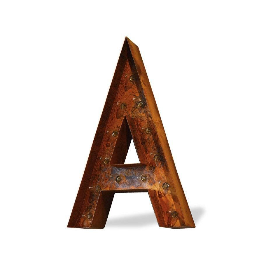 "12"" Letter A Lighted Vintage Marquee Letters Modern Font Rustic"