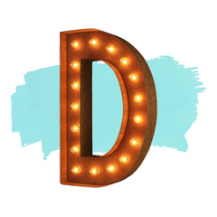 "Marquee Letter Lights - 12"" Letter D Lighted Vintage Marquee Letters (Modern Font/Rustic)"