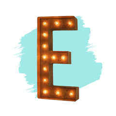 "12"" Letter E Lighted Vintage Marquee Letters (Modern Font/Rustic)"