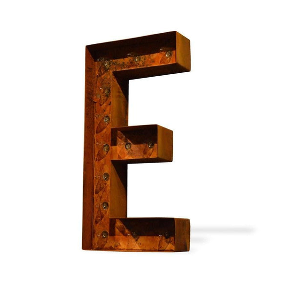 "Marquee Letter Lights - 12"" Letter E Lighted Vintage Marquee Letters (Modern Font/Rustic)"