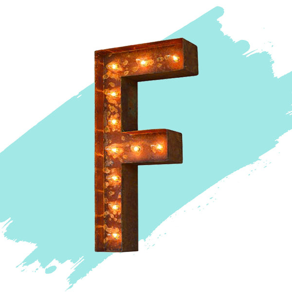 "Marquee Letter Lights - 12"" Letter F Lighted Vintage Marquee Letters (Modern Font/Rustic)"