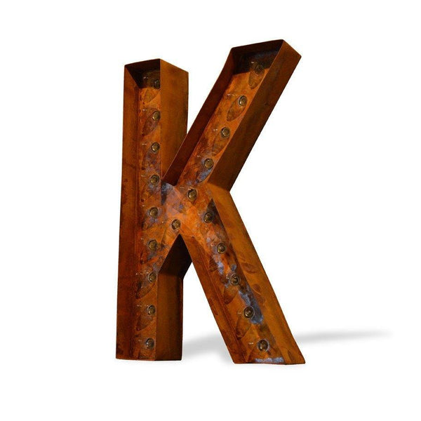 "Marquee Letter Lights - 12"" Letter K Lighted Vintage Marquee Letters (Modern Font/Rustic)"