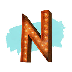 "Marquee Letter Lights - 12"" Letter N Lighted Vintage Marquee Letters (Modern Font/Rustic)"