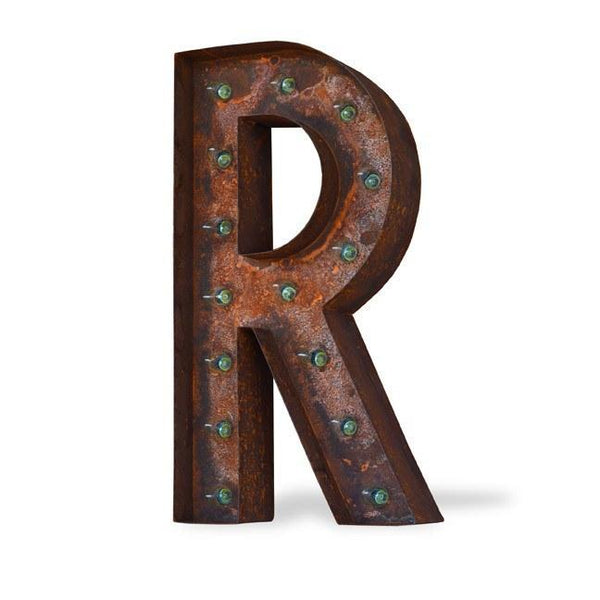 "Marquee Letter Lights - 12"" Letter R Lighted Vintage Marquee Letters (Modern Font/Rustic)"