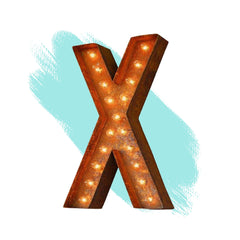"Marquee Letter Lights - 12"" Letter X Lighted Vintage Marquee Letters (Modern Font/Rustic)"