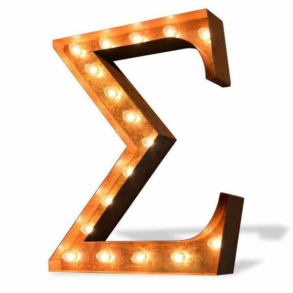 "Marquee Letter Lights - 24"" Greek Letters Vintage Lighted Marquee Letters (Rustic)"