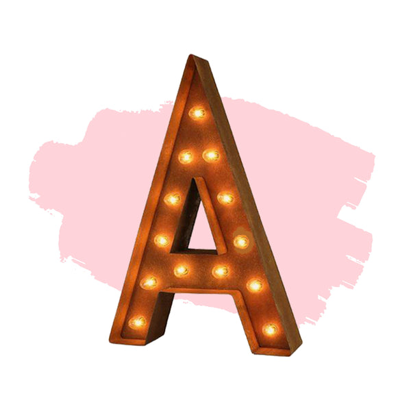 "Marquee Letter Lights - 24"" Letter A Lighted Vintage Marquee Letters (Modern Font/Rustic)"