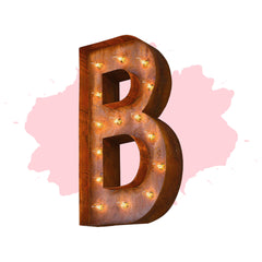 "Marquee Letter Lights - 24"" Letter B Lighted Vintage Marquee Letters (Modern Font/Rustic)"