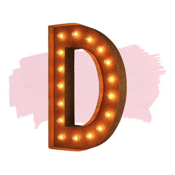 "Marquee Letter Lights - 24"" Letter D Lighted Vintage Marquee Letters (Modern Font/Rustic)"