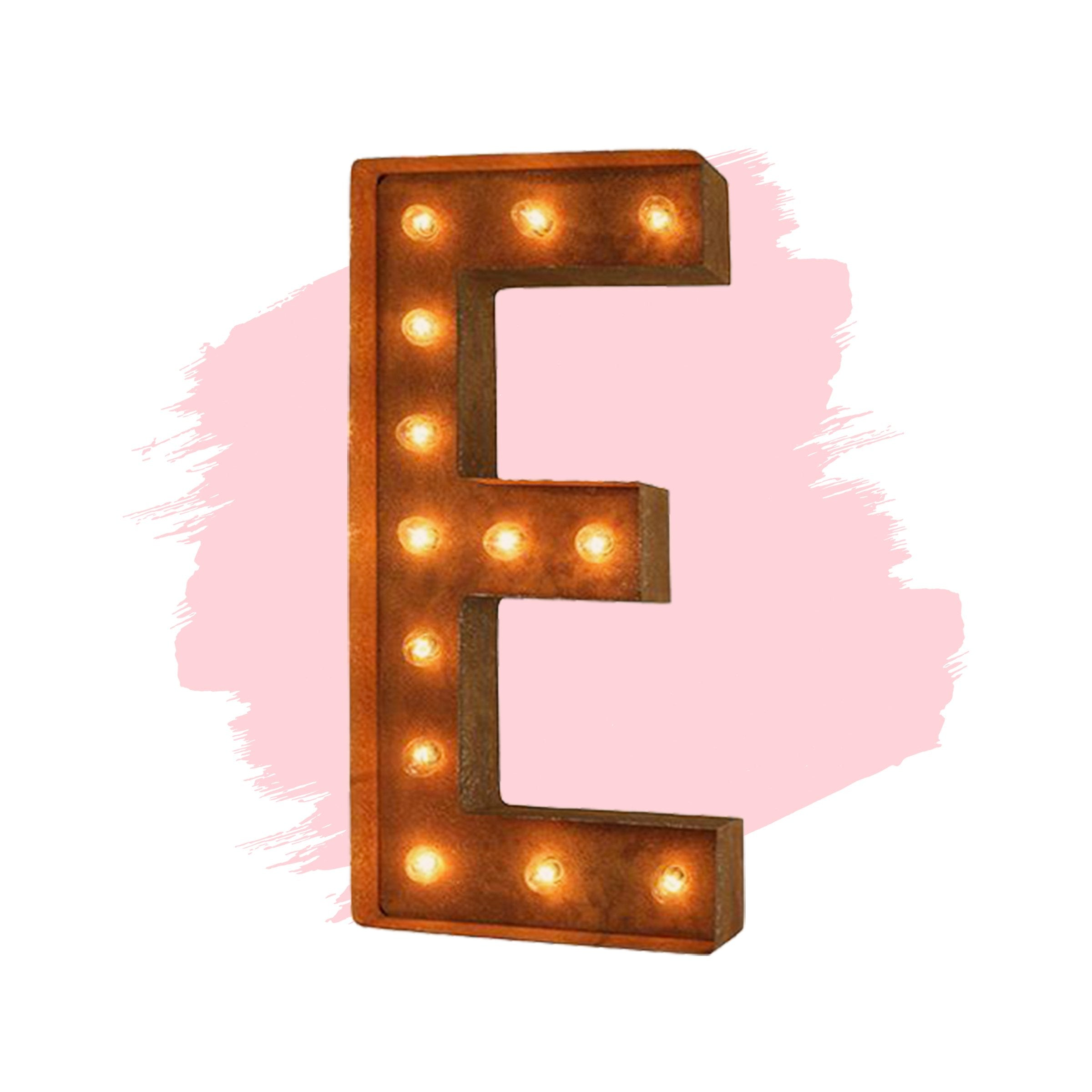 24 Letter E Lighted Vintage Marquee Letters Modern Font Rustic