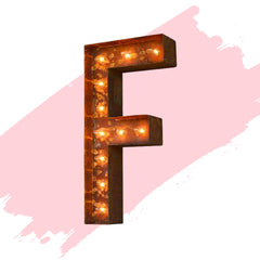 "Marquee Letter Lights - 24"" Letter F Lighted Vintage Marquee Letters (Modern Font/Rustic)"