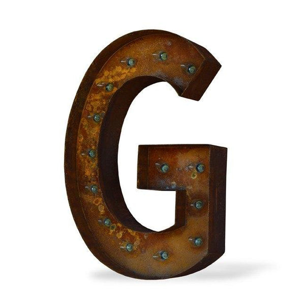 "Marquee Letter Lights - 24"" Letter G Lighted Vintage Marquee Letters (Modern Font/Rustic)"