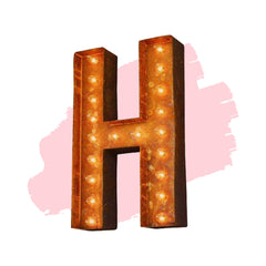 "Marquee Letter Lights - 24"" Letter H Lighted Vintage Marquee Letters (Modern Font/Rustic)"