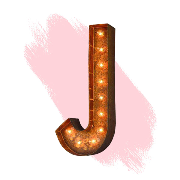 "Marquee Letter Lights - 24"" Letter J Lighted Vintage Marquee Letters (Modern Font/Rustic)"