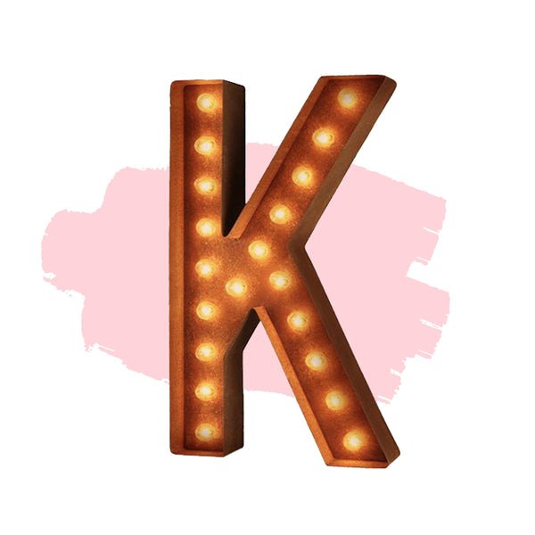"Marquee Letter Lights - 24"" Letter K Lighted Vintage Marquee Letters (Modern Font/Rustic)"