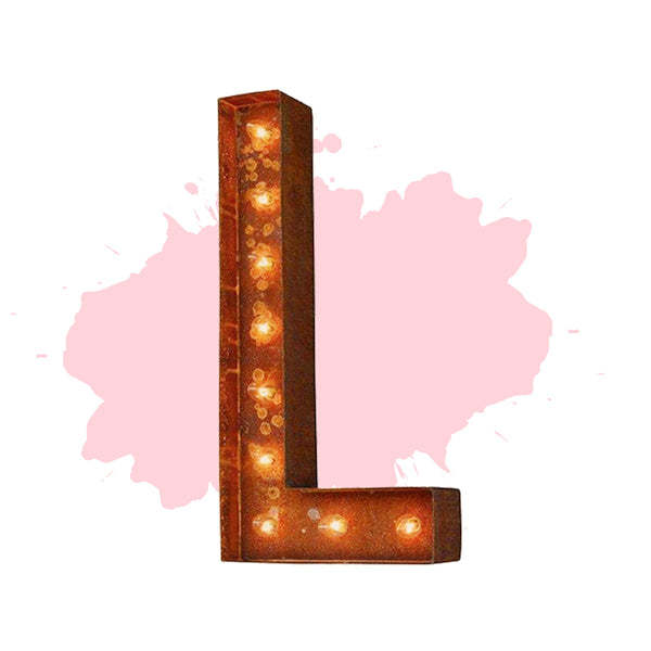 "Marquee Letter Lights - 24"" Letter L Lighted Vintage Marquee Letters (Modern Font/Rustic)"