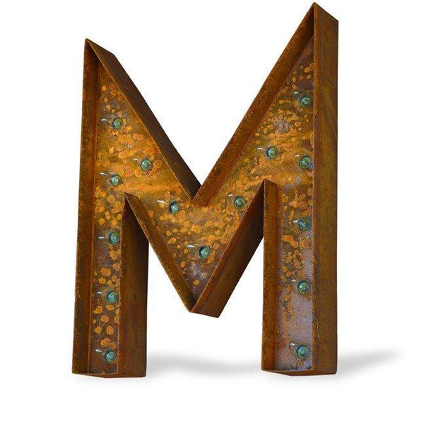"Marquee Letter Lights - 24"" Letter M Lighted Vintage Marquee Letters (Modern Font/Rustic)"