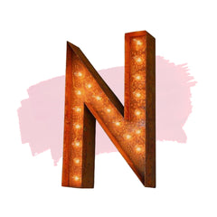 "Marquee Letter Lights - 24"" Letter N Lighted Vintage Marquee Letters (Modern Font/Rustic)"