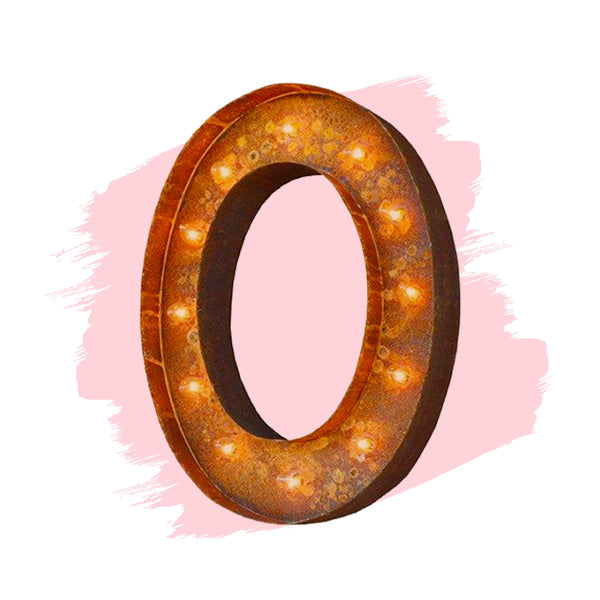 "Marquee Letter Lights - 24"" Letter O Lighted Vintage Marquee Letters (Modern Font/Rustic)"