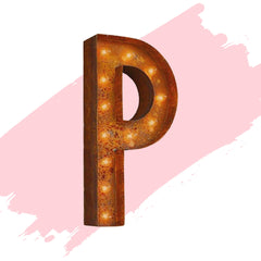 "Marquee Letter Lights - 24"" Letter P Lighted Vintage Marquee Letters (Modern Font/Rustic)"