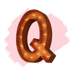 "Marquee Letter Lights - 24"" Letter Q Lighted Vintage Marquee Letters (Modern Font/Rustic)"