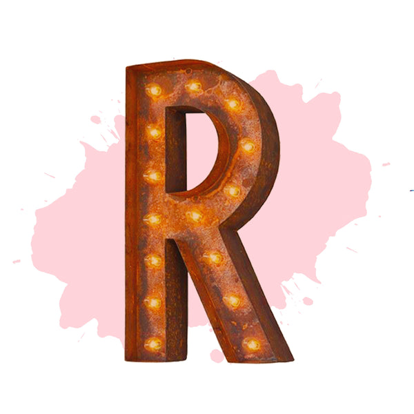 "Marquee Letter Lights - 24"" Letter R Lighted Vintage Marquee Letters (Modern Font/Rustic)"