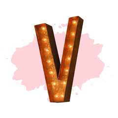 "Marquee Letter Lights - 24"" Letter V Lighted Vintage Marquee Letters (Modern Font/Rustic)"