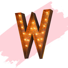 "Marquee Letter Lights - 24"" Letter W Lighted Vintage Marquee Letters (Modern Font/Rustic)"