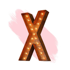 "Marquee Letter Lights - 24"" Letter X Lighted Vintage Marquee Letters (Modern Font/Rustic)"