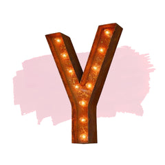 "Marquee Letter Lights - 24"" Letter Y Lighted Vintage Marquee Letters (Modern Font/Rustic)"