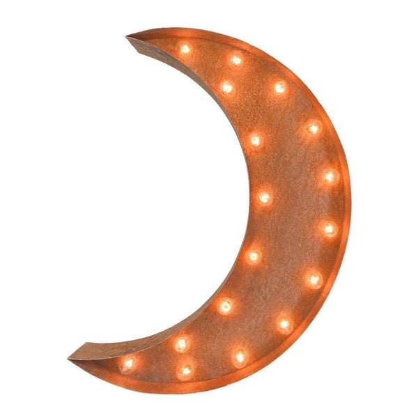 "Marquee Symbol Lights - 24"" Crescent Moon Vintage Marquee Lights Sign (Rustic)"